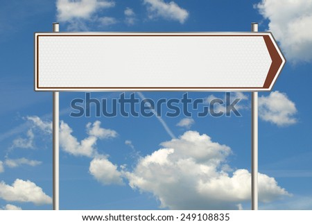 Illustration of a blank road sign with space for any text on a background of sky and clouds. Raster  - stock photo