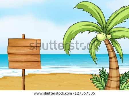 Illustration of a blank signpost and coconut tree with the beach as background. - stock photo