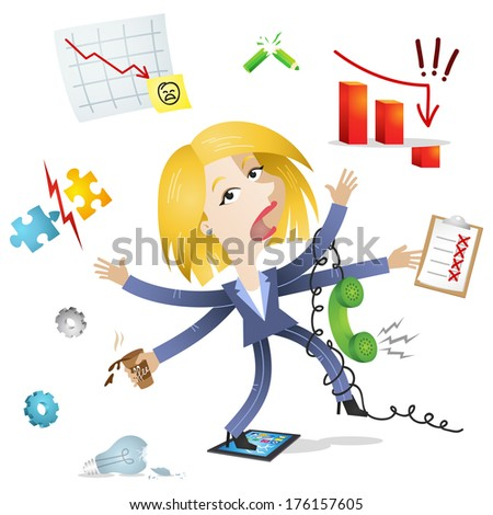 Illustration of a blond cartoon business woman with several arms failing to multitask / trying to do multiple office tasks at once (vector also available). - stock photo