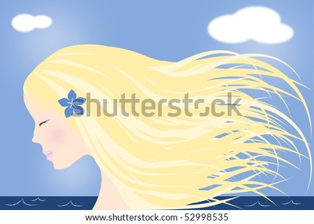 Illustration of a blond girl with long hair by the sea