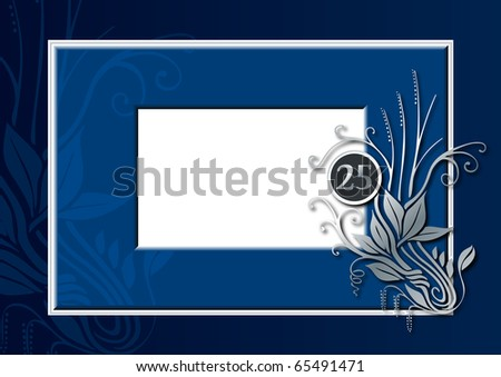 illustration of a blue and silver congratulations card for 25 th anniversary, jubilee, wedding or birthday