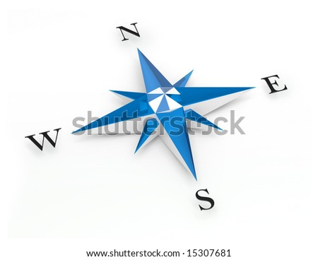 Illustration of a blue and white compass - stock photo