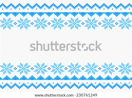 illustration of a blue and white knitted background - stock photo