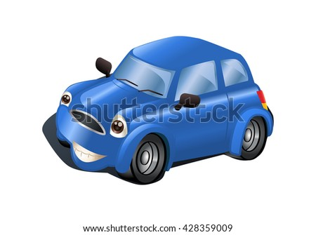 illustration of a blue car on isolated white background - stock photo