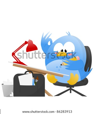 Illustration of a Blue Cartoonist Bird drawing on an artist table - stock photo