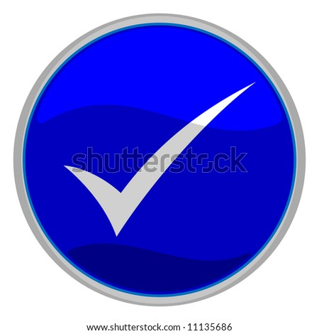 illustration of a blue check mark button - stock photo