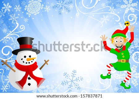 illustration of a blue christmas background with a snowman and an elf