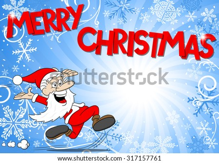 illustration of a blue christmas background with santa claus
