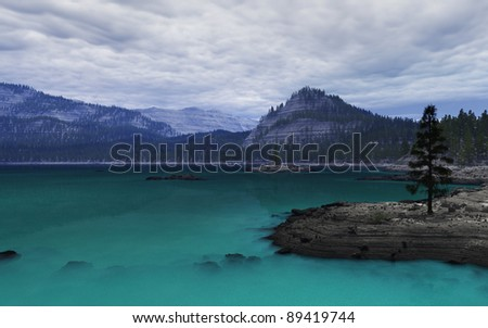 Illustration of a blue lake in the mountains with larch trees and thick clouds