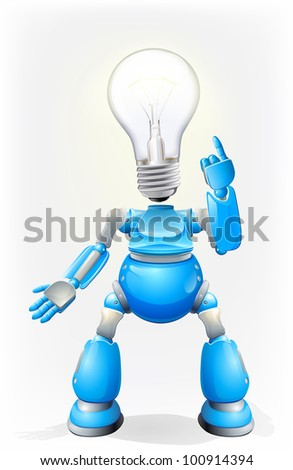 Illustration of a blue robot character with a light bulb for a head