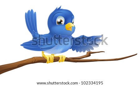 Illustration of a bluebird sitting on a tree branch pointing or showing - stock photo