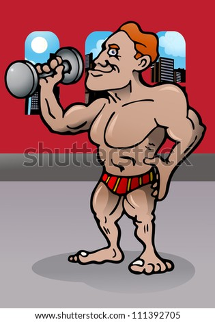 illustration of a body builder person in room - stock photo