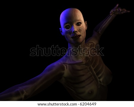 Illustration of a body revealing the underlying skeletal structure. - stock photo