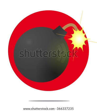 Illustration of a bomb with red circle background - stock photo