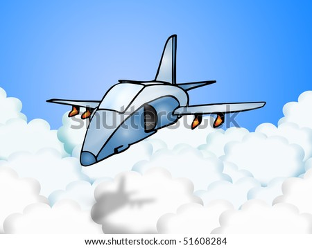 Illustration of a bomber fighter Jet plane doing stealth flying mode - stock photo