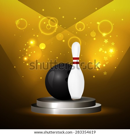 illustration of a Bowling Ball crashing and skittles. - stock photo