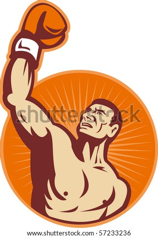 illustration of a Boxer punching fist up the air with sunburst in background