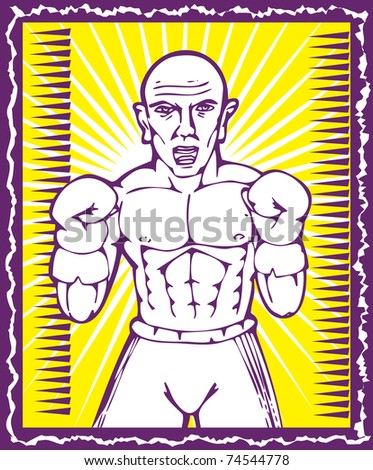 illustration of a Boxer with boxing gloves posing inside frame facing front view