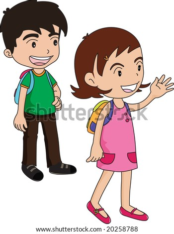 illustration of a boy and a girl waiting for something