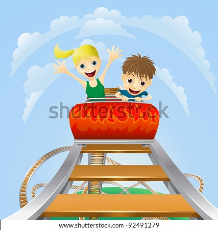 Illustration of a boy and girl enjoying a thrilling roller coaster ride - stock photo