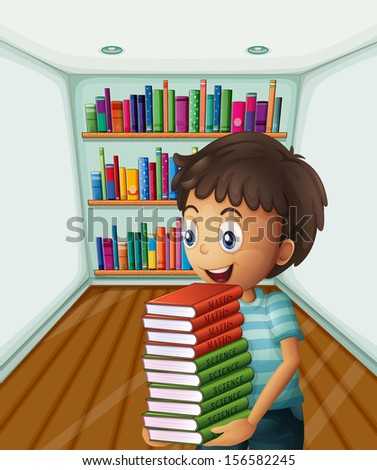 Illustration of a boy carrying a pile of books