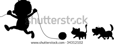 Illustration of  a boy cat and dog on white - vector EPS of this image also available in my portfolio