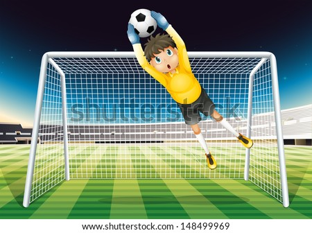 Illustration of a boy catching the soccer ball - stock photo