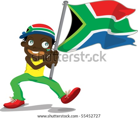 Illustration of a boy holding flag on a white background