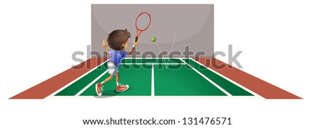 Illustration of a boy playing tennis at the court on a white background - stock photo