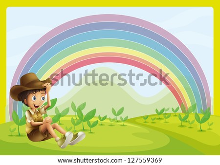 Illustration of a boy sitting and rainbow as background - stock photo