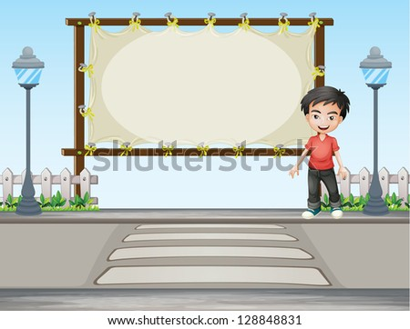Illustration of a boy standing along the road