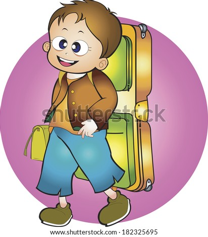 Illustration of a boy with a camping backpack