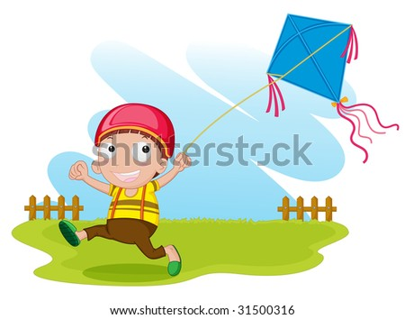 illustration of a boy with kite on white