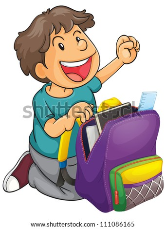 illustration of a boy with school bag on a white background