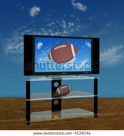 Illustration of a bright picture of American Football pass or kick flies in a high Autumn sky on HDTV scene. - stock photo