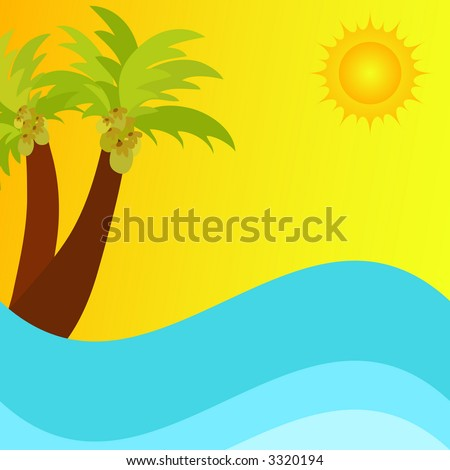 Illustration of a bright sun , waves and palm trees
