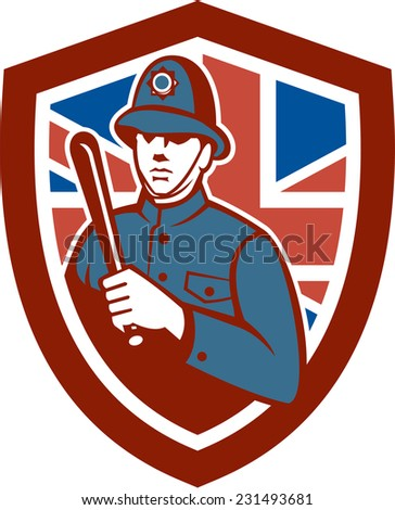 Illustration of a British London bobby police officer policeman man wielding truncheon or baton , nightstick, sap, stick set inside shield crest with Union Jack flag in background done in retro style.