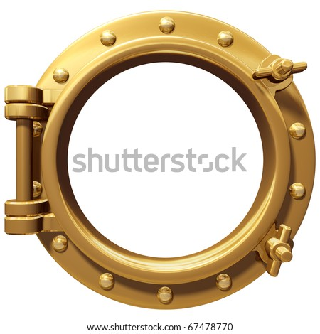 Illustration of a bronze ship porthole isolated on white - stock photo