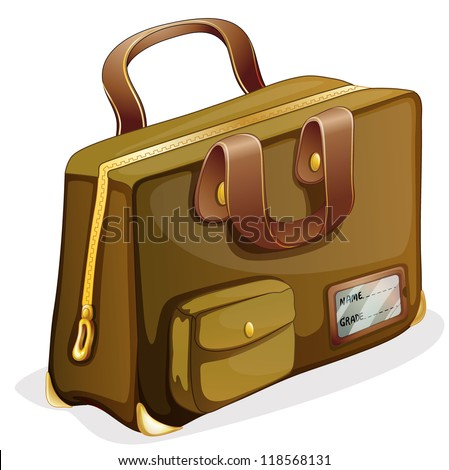 illustration of a brown bag on a white background - stock photo