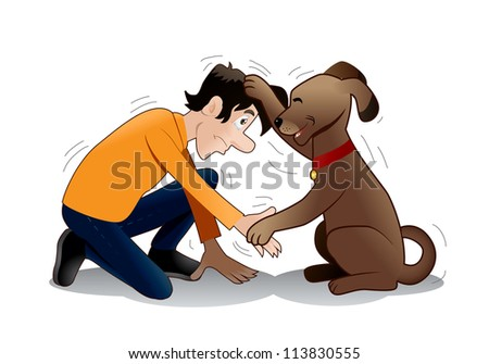 illustration of a  Brown Dog do hand shake with a man over isolated white background - stock photo