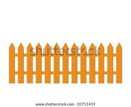 Illustration of a brown wood picket fence