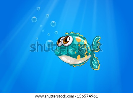 Illustration of a bubble fish under the sea