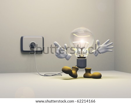Illustration of a bulb has a new idea or a good thought. - stock photo