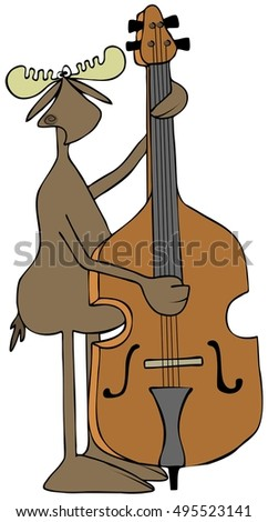 Illustration of a bull moose playing a bass fiddle.