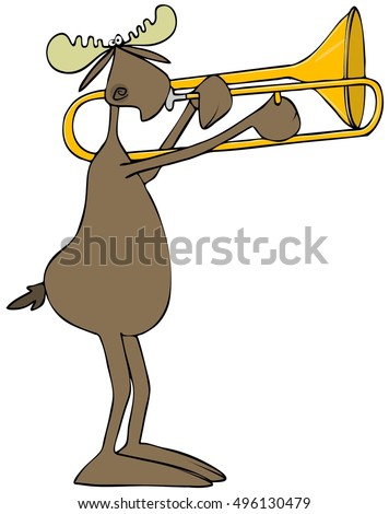 Illustration of a bull moose playing a slide trombone.