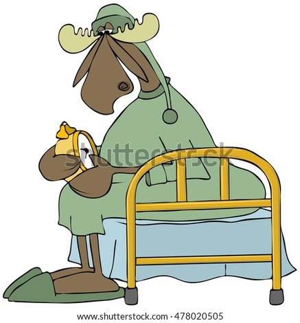 Illustration of a bull moose wearing a nightshirt, sitting on a bed and setting a brass alarm clock.