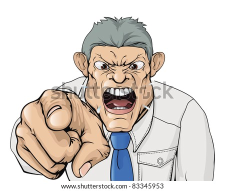 Illustration of a bullying boss shouting and pointing. - stock photo