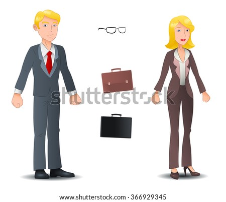 illustration of a business man and business woman pose on isolated white background - stock photo