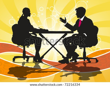 Illustration of a business man and woman at work
