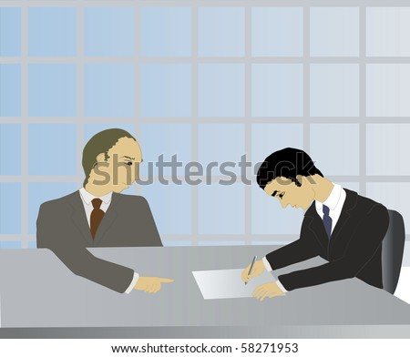 illustration of a business man signing a contract in a office.